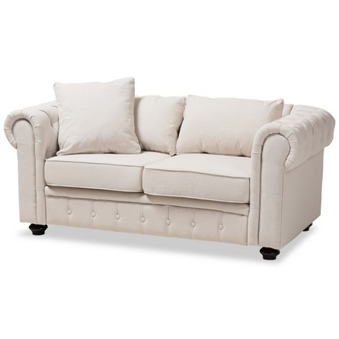 Baxton Studio Alaise Modern Classic Linen Tufted Scroll Arm Chesterfield Loveseat - image 1 of 9
