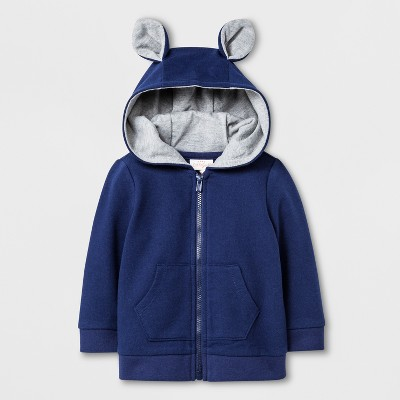 Baby Boys' Hooded Sweatshirt with Critter Ears - Cat & Jack™ Navy 6-9M
