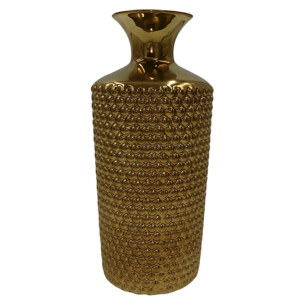 "Image of ""Ceramic Hobnail Vase Cognac 11"""" - Drew DeRose, Brown"""