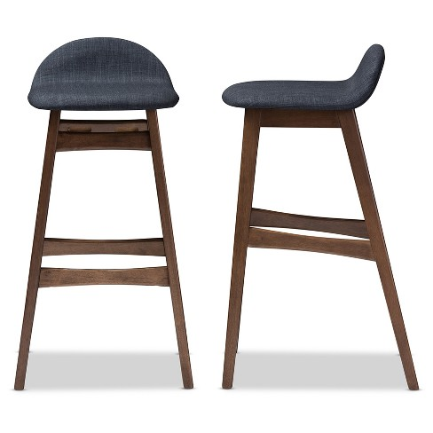 Pleasant 2Pc 30 Bloom Mid Century Modern Style Blue Fabric Upholstered Wood Finishing Bar Stool Dark Blue Baxton Studio Ncnpc Chair Design For Home Ncnpcorg