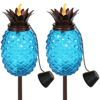 "63"" 2pk Tropical Pineapple 3-in-1 Glass Outdoor Torches Blue - Sunnydaze Decor"