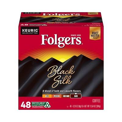 Folgers Black Silk Medium Roast Coffee - Keurig K-Cup Pods - 48ct