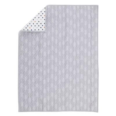 NoJo Aztec Mix & Match 100% Cotton Arrow Print Nursery Crib Quilt - Gray/White