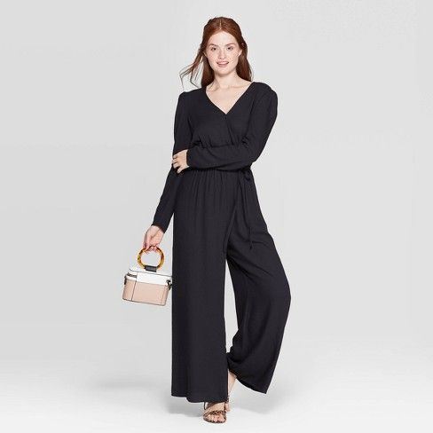 Women's Long Sleeve V-Neck Wide Leg Jumpsuit - A New Day™ - image 1 of 3