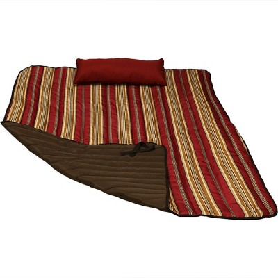 Polyester Quilted Awning Stripe Hammock Pad and Pillow - Red/Gold - Sunnydaze Decor