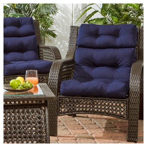 Set Of 2 Solid Outdoor High Back Chair Cushions Greendale Home Fashions