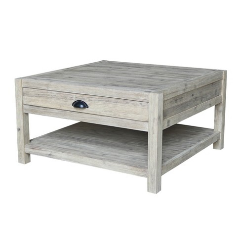 Modern Rustic Square Coffee Table Gray Wash International Concepts