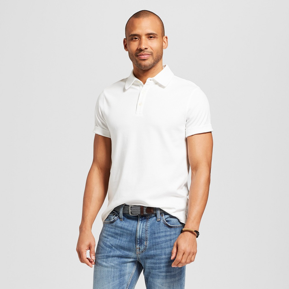 Men's Standard Fit Short Sleeve Elevated Ultra-Soft Polo Shirt - Goodfellow & Co True White Opaque S