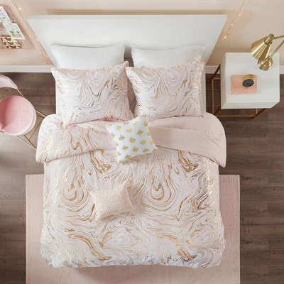 Vanessa Metallic Printed Duvet Cover Set Blush/Gold