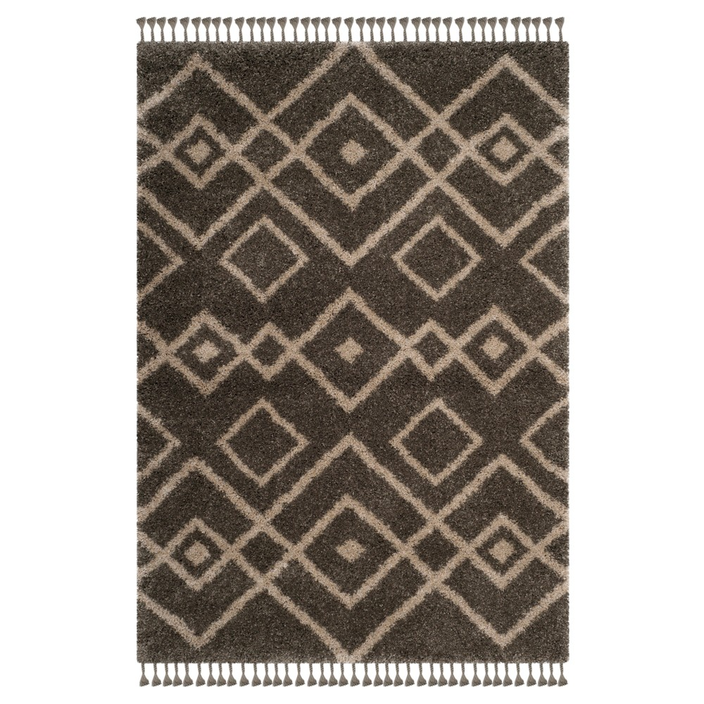Gray/Cream Geometric Loomed Area Rug 5'1