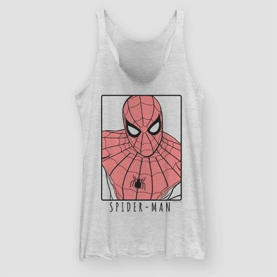 Women's Spider Man: Far From Home Spidey Tank Top (Juniors')   White Heather by Man: Far From Home Spidey Tank Top (Juniors')