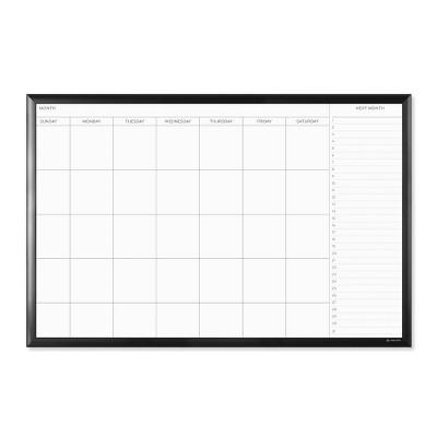 "U Brands 36""x24"" Magnetic Dry Erase Calendar Board Black Aluminum Frame"