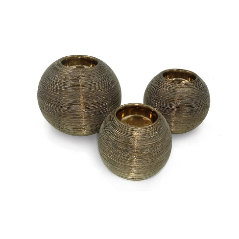 "Ceramic Spun Ball Votive Tea Light Holder Set of 3 Cognac 3""/4""/5"" - Drew DeRose - image 1 of 1"