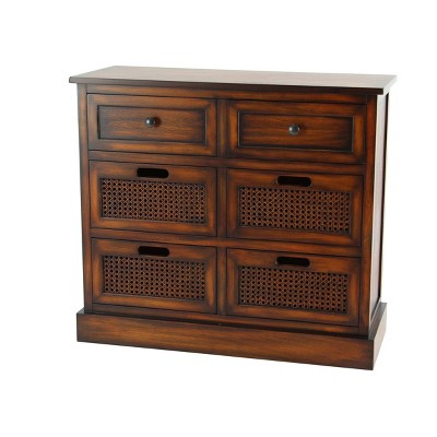 Large Wooden 6 Drawer Side Chest Brown - Olivia & May