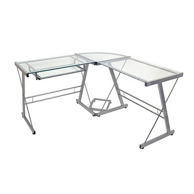 Glass L Shaped Computer Desk with Keyboard Tray Silver - Saracina Home