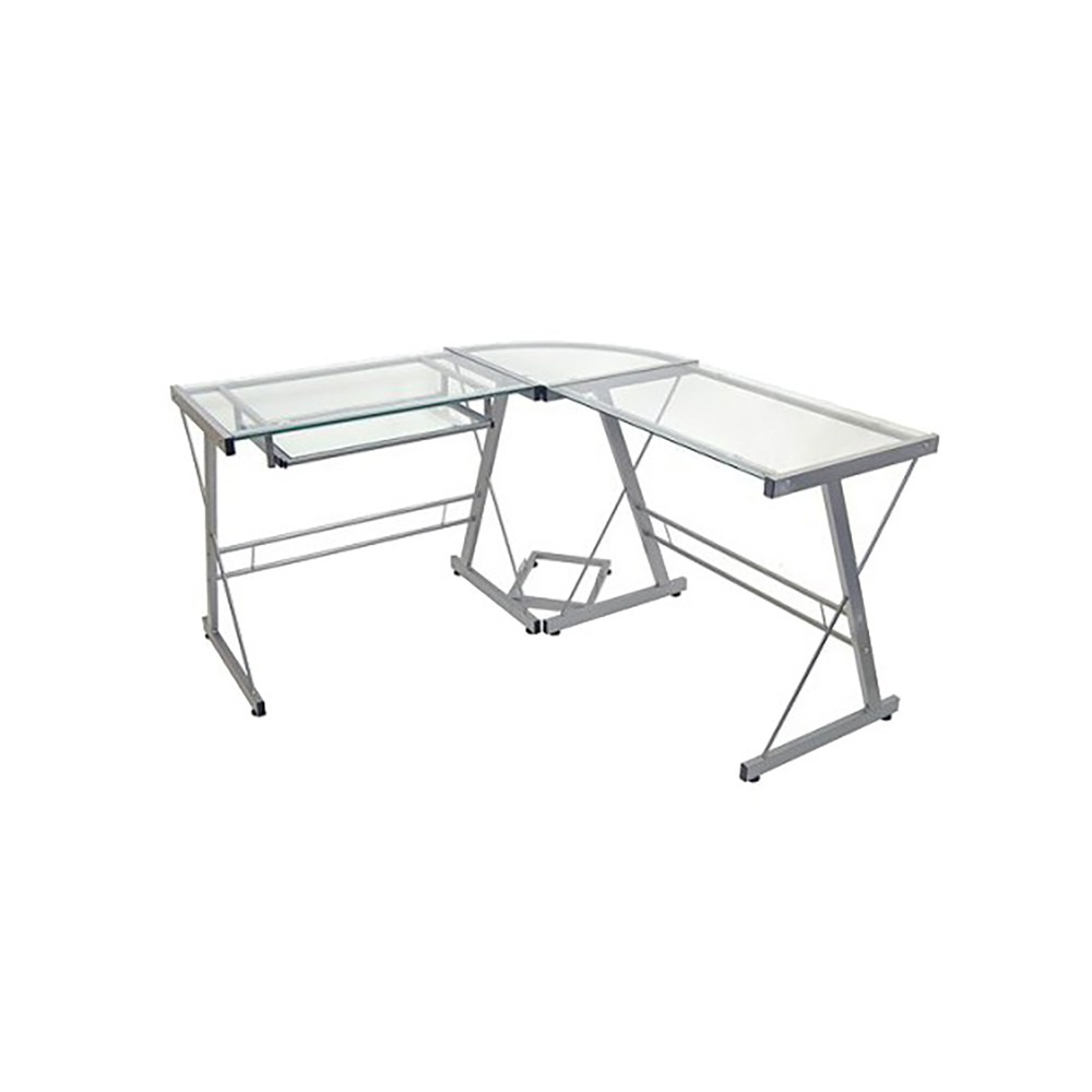 Glass L Shaped Computer Desk with Keyboard Tray Silver - Saracina Home Price