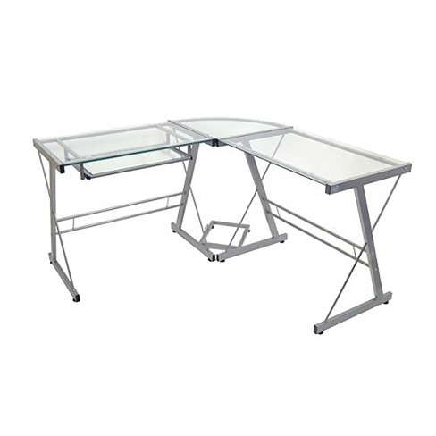 more photos a22ba 82938 L-Shaped Glass Corner Computer Desk - Saracina Home