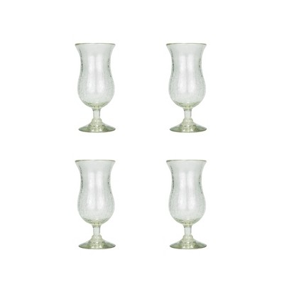 Amici Home Clear Crackle Authentic Mexican Handmade Hurricane Glasses, 16oz, Set of 4