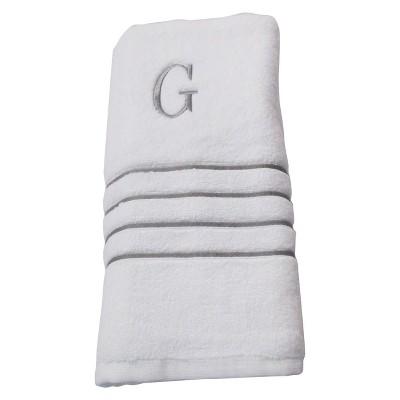 Monogram Bath Towel G - White/Skyline Gray - Fieldcrest®