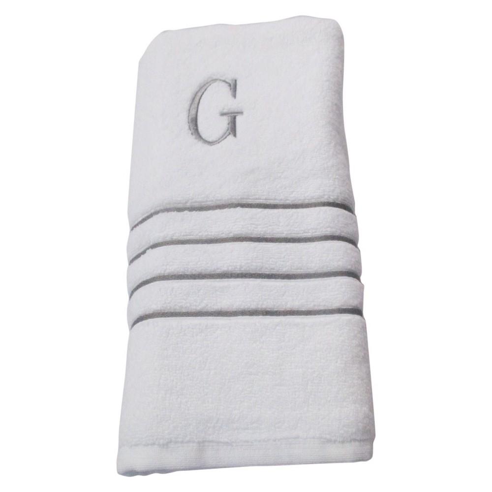 Monogram Bath Towel G - White/Skyline Gray - Fieldcrest