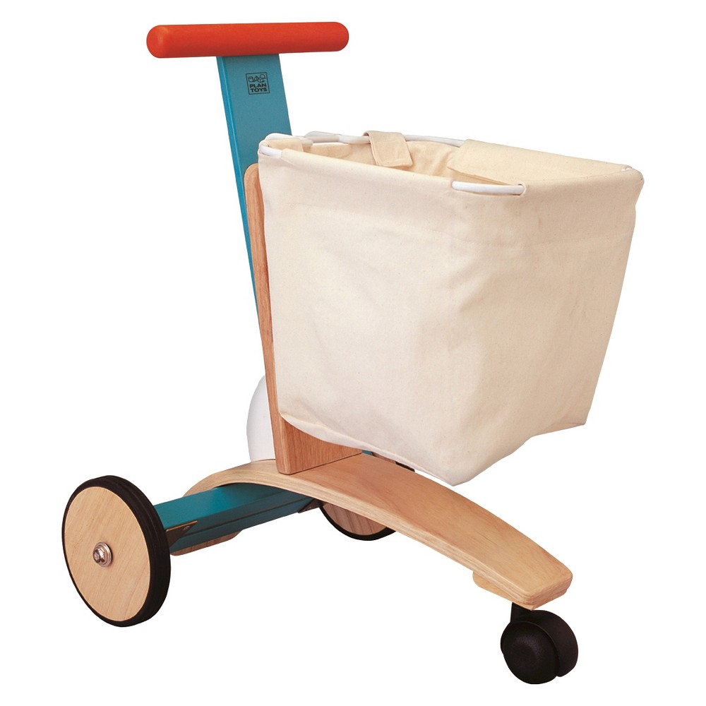 PlanToys Shopping Cart, Play Money and Shopping Your little shopper will love using the PlanToys Shopping Cart. This kids shopping cart has a stable three wheel base with rear stopper to prevent tip over. Your little one can shop for lots of things with this wood and canvas toy shopping cart. The handle bar can be adjusted to fit your child's height. You'll help develop their motor skills and imaginations with this toy grocery cart. For ages 3 and up. Gender: unisex.