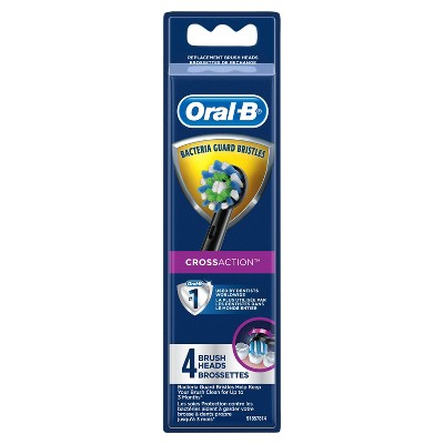 Oral-B CrossAction Electric Toothbrush Replacement Brush Head Refills Black - 4ct