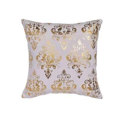 "18""x18"" Goldie Square Throw Pillow White/Gold - Sure Fit"
