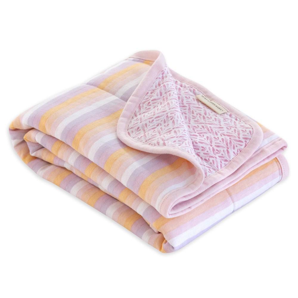 Burt 39 S Bees Baby 174 Organic Reversible Jersey Knit Blanket Sunset Stripe