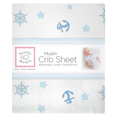 SwaddleDesigns® Cotton Muslin Crib Sheet - Ahoy! - Pastel Blue