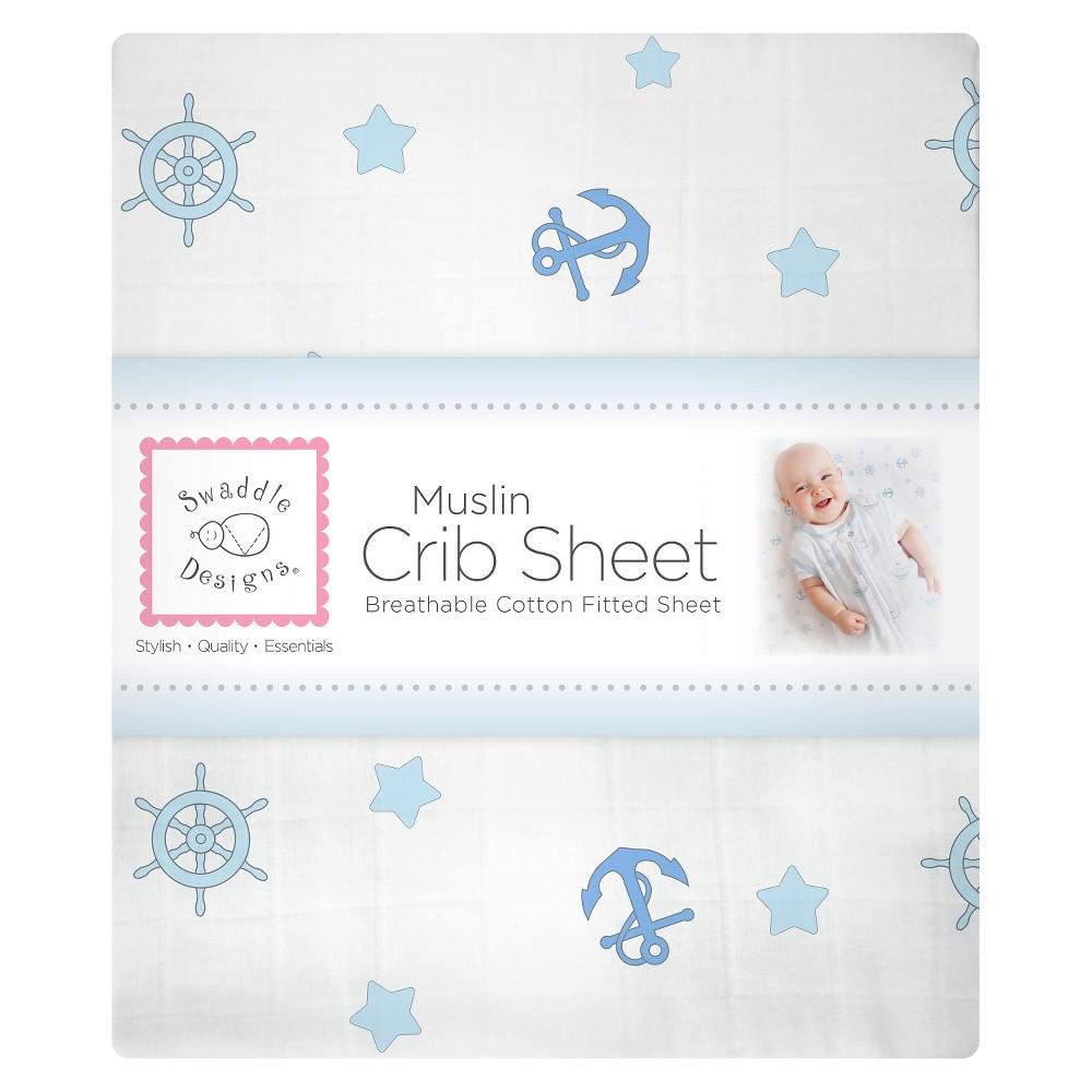 Image of SwaddleDesigns Cotton Muslin Crib Sheet - Ahoy! - Pastel Blue