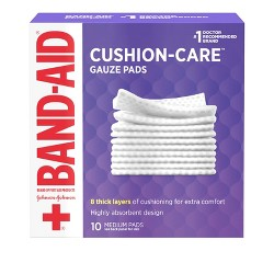 Band-Aid Brand Cushion Care Gauze Pads, Medium, 3 in x 3 in - 10 ct