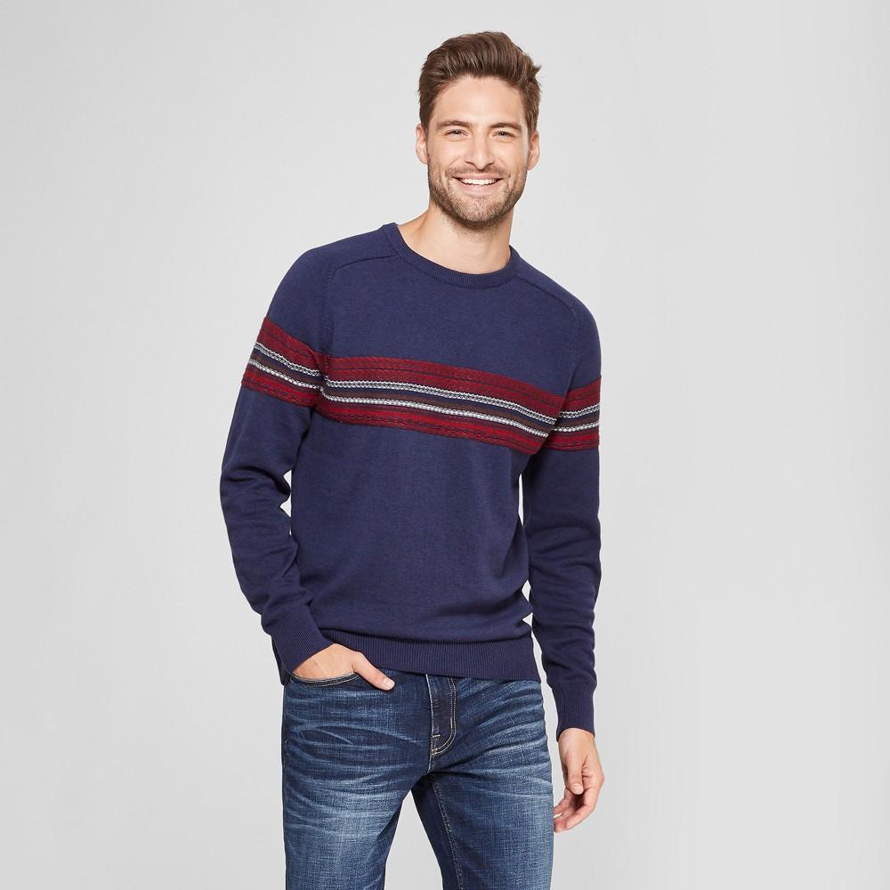 Men's Standard Fit Crew Neck Sweater - Goodfellow & Co Navy S, Blue