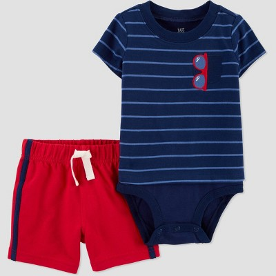 Baby Boys' Striped Sunglass Top and Bottom Set - Just One You® made by carter's Blue 6M