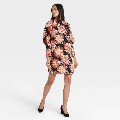 Women's Floral Print Puff Long Sleeve Dress - Who What Wear™ Black