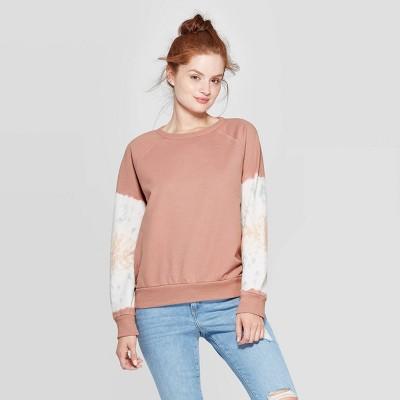 Women's Long Sleeve Crewneck Tie Dye Sweatshirt   Universal Thread Brown by Universal Thread Brown