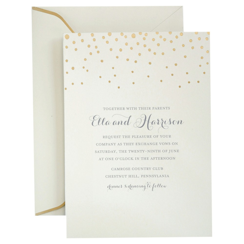 Image of 25ct Foil Dots Invitation Pack Gold