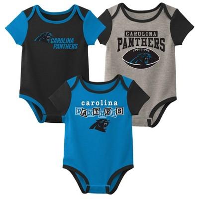 NFL Carolina Panthers Baby Boys' Newest Fan 3pk Bodysuit Set