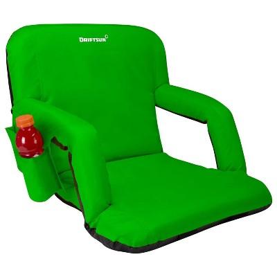 Driftsun Universal Regular 20 Inch Width Folding Stadium Reclining Bleacher Seat Chair with Back Support for Sporting Events, Green