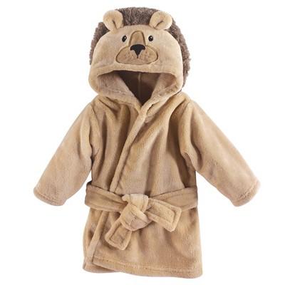 Hudson Baby Infant Plush Animal Face Bathrobe, Lion, 0-9 Months