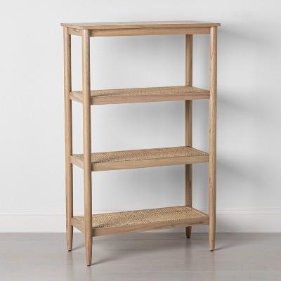 Tall 4-Shelf Wood & Cane Bookcase - Hearth & Hand™ with Magnolia
