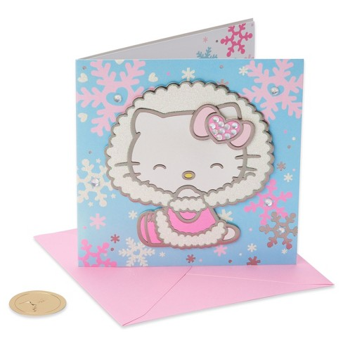 Papyrus Hello Kitty And Snowflakes Greeting Card