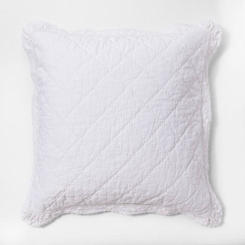 White Crochet Trim Linen Blend Pillow Sham Euro Simply Shabby Chic