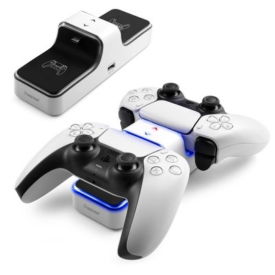 Insten - Controller Charger Station Compatible with Sony Playstation PS5 Controller, LED Indicator, Dual Charge, White