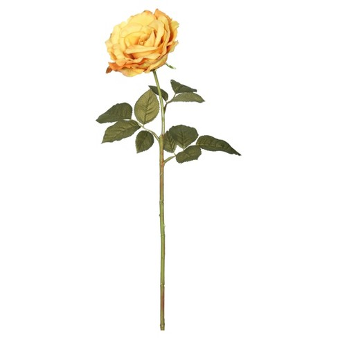 "Artificial (Pk/6) Open Rose Stem (25"") Dark Yellow - Vickerman - image 1 of 1"