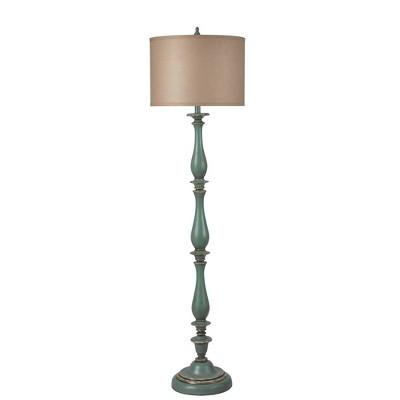 "61"" 3-way Charlton Floor Lamp Distressed Blue/Taupe- StyleCraft"