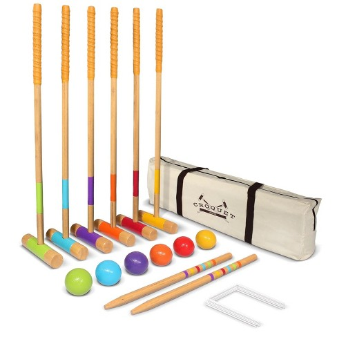 GoSports Full Size Deluxe Backyard Outdoor Lawn Kid and Adult Croquet Game Set for 6 Players with 35 Inch Mallet Handles & Portable Travel Carry Case - image 1 of 4