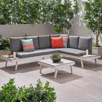3pc Irma Aluminum Patio Sofa Sectional - White - Christopher Knight Home