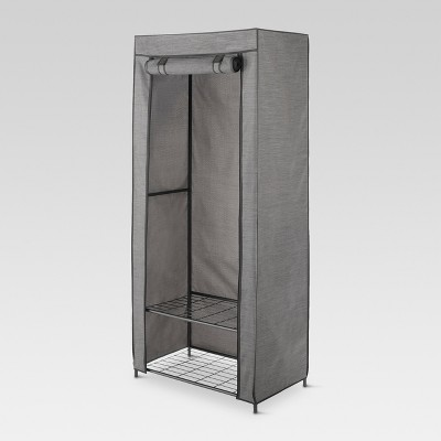 2 Tier Wardrobe Metal Frame with 2 Shelves and Breathable Cover - Threshold™