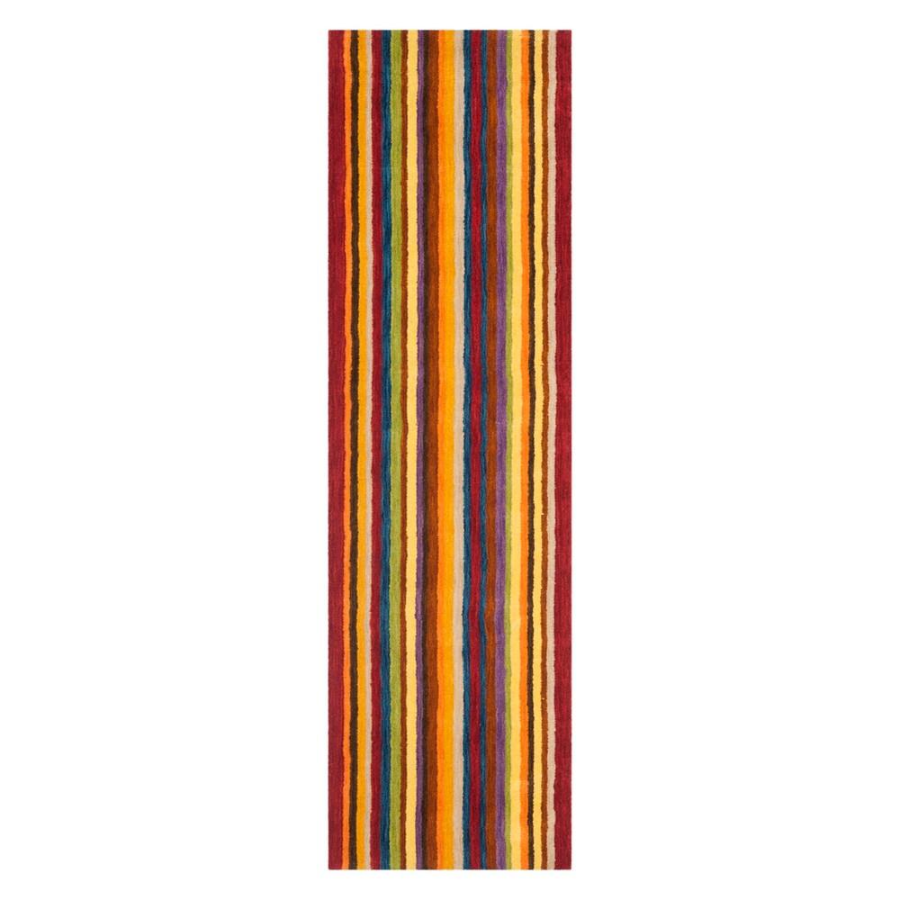 2'3X10' Stripe Loomed Runner Red - Safavieh