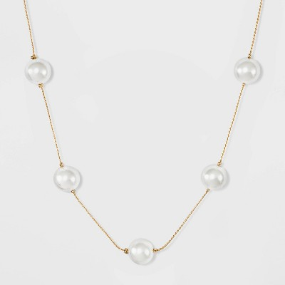 Short Pearl Station Necklace - A New Day™ Pearl/Gold